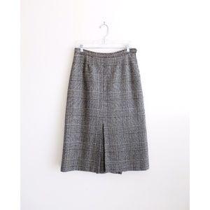 Vtg 80s Saks Fifth Ave Glen Check Midi Skirt fit M